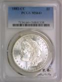 1882-CC Morgan Dollar PCGS MS-64+; Premium Quality, White
