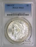 1883-CC Morgan Dollar PCGS MS-63; Frosty White