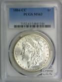 1884-CC Morgan Dollar PCGS MS-63; Creamy White