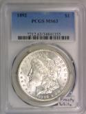 1892 Morgan Dollar PCGS MS-63; Frosty White