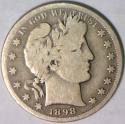 1898-S Barber Half Dollar; Choice Original VG/F