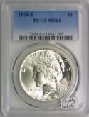 1924-S Peace Dollar PCGS MS-64; Frosty White