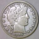 1908-D Barber Half Dollar; F-