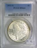 1921-S Morgan Dollar PCGS MS-64+; Premium Quality!