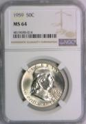 1959 Franklin Half Dollar NGC MS-64