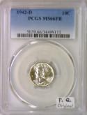 1942-D Mercury Dime PCGS MS-66 FB; Premium Quality; Original