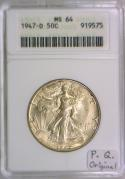 1947-D Walking Liberty Half Dollar ANACS MS-64; Premium Quality; Original