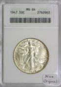 1947 Walking Liberty Half Dollar ANACS MS-64; Nice Original
