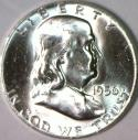 1956 Franklin Half Dollar; Choice BU; Frosty White