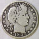 1913 Barber Half Dollar; Choice Original VG/F; Low Mintage Of 188,000