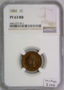 1882 Proof Indian Cent NGC PF-63 RB; Mintage 3,100; Good Eye Appeal For Grade!