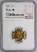 1875 Indian Head Cent NGC MS-63 RB