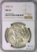1935 Peace Dollar NGC MS-63; Nice Original
