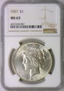 1927 Peace Dollar NGC MS-63