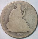 1876 Seated Liberty Half Dollar; Original AG