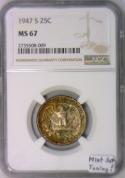 1947-S Washington Quarter NGC MS-67; Mint Set Toning!