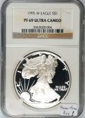 1995-W Proof $1 American Silver Eagle NGC PF-69 Ultra Cameo; Haze-free Key!
