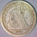 1861 Seated Liberty Quarter; F; Popular Civil War Date