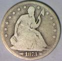 1873-S Arrows Seated Liberty Half Dollar; Choice Original G-VG; Tough Coin!