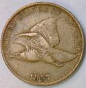 1857 Flying Eagle Cent; Nice VF+