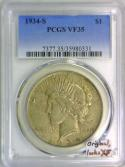 1934-S Peace Dollar PCGS VF-35; Original, Looks XF