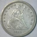 1863  Seated Liberty Quarter; Nice XF+; Tough Civil War Date!
