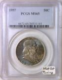 1957 Franklin Half Dollar PCGS MS-65; Mint Set Toning