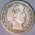 1914-S Barber Quarter; VG; Mintage Only 264,000; Scarce!