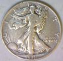 1938-D Walking Liberty Half Dollar; F; Scarce, Low Mintage Date!