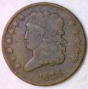 1828 Twelve Stars Classic Head Half Cent; F; C-2