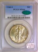 1940-S Walking Liberty Half Dollar PCGS MS-64 With CAC; Looks 65+