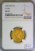 1855 MPD $5 Gold Half Eagle NGC AU-55; VP-001; Cool Variety!
