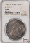 1799 Draped Bust Dollar NGC AU-55; B-13, R-5; RARE!
