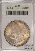 1881-S Morgan Dollar ANACS MS-66; Original, Old White Holder