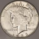1935-S 4 Rays Peace Dollar; Choice AU; Extra Ray Variety; VAM-4, Top-50