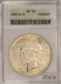 1927-D Peace Dollar ANACS AU-50; Old White Holder