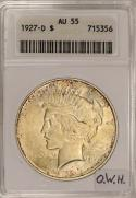 1927-D Peace Dollar ANACS AU-55; Old White Holder