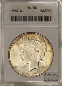 1934 Peace Dollar ANACS AU-58; Old White Holder, Looks Unc.!
