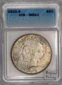 1923-S Peace Dollar ICG MS-63; Original Toning