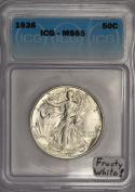 1936 Walking Liberty Half Dollar ICG MS-65; Frosty White!