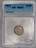 1837 Half Dime ICG MS-62; Large 5 C., LM-1; Cute!