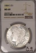 1884-S Morgan Dollar NGC MS-60; Premium Quality, White!