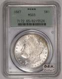 1887 Morgan Dollar PCGS MS-65; Old Green Holder