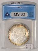 1887 Morgan Dollar ANACS MS-63; Nice Tone!