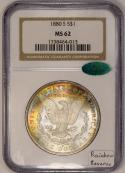 1880-S Morgan Dollar NGC MS-62 With CAC;  Rainbow Reverse