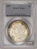 1887 Morgan Dollar PCGS MS-64; Unusual Toning!