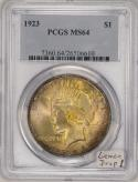 1923 Peace Dollar PCGS MS-64  Lemon Drop!