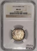 1916 Barber Quarter NGC MS-63; Choice Original