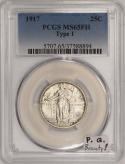 1917 Type 1 Standing Liberty Quarter PCGS MS-65 FH; Premium Quality Beauty!