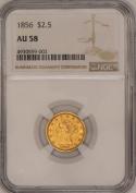 1856 $2.50 Gold Liberty Head Quarter Eagle  NGC AU-58